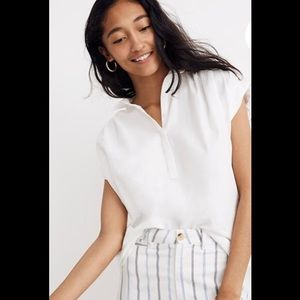 Madewell Central Popover white Shirt small NWT